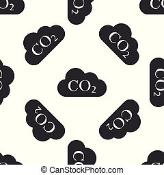 CO2 emissions in cloud icon seamless pattern on white background. Carbon dioxide formula symbol, smog pollution concept, environment concept, combustion products sign. Flat design. Vector Illustration