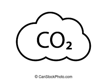 CO2 emissions vector line icon. Carbon gas cloud, dioxide pollution. Global ecology exhaust emission smog concept