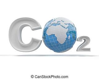 CO2. Formula on white isolated background