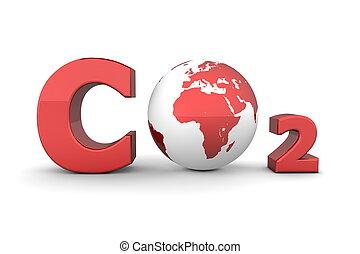 co2, global, -, dióxido, carbón, brillante, rojo