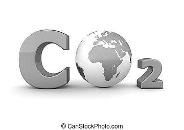 co2, global, -, gris, dióxido, carbón, brillante