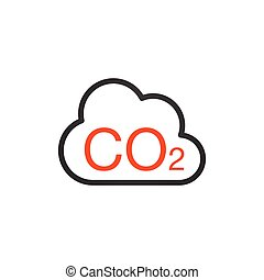 CO2 Icon. Cloud Carbon Dioxide Emissions . Pollution of air and the environment.