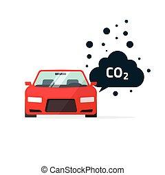 co2, illustration, voiture, symbole, vecteur, émissions, bioxyde, carbone, emits