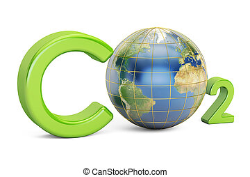 CO2 inscription with globe, pollution concept. 3D rendering