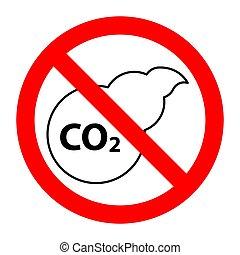 co2, interdit, arrêt, prohibition, signe, pollution atmosphérique