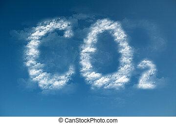 co2, nuvens, forma, símbolo, global, -, warming