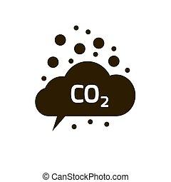 co2, plat, symbole, vecteur, émissions, bioxyde, carbone, emits, nuage, icône