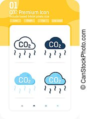CO2 premium icon with multiple style isolated on white background from Ecology collection. Carbon dioxide formula vector illustration concept design template for web design and mobile app, UI and UX