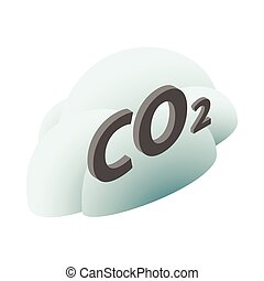 CO2 sign in a cloud icon, isometric 3d style