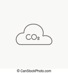 CO2 sign in cloud line icon.