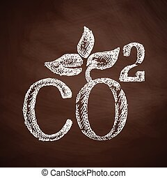 co2, signe, icône, bioxyde