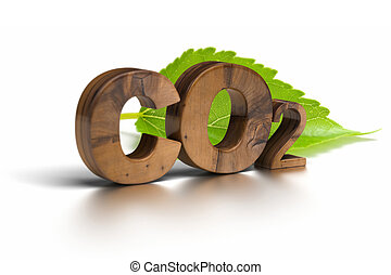 co2 word isolated over a white background with a green leaf...