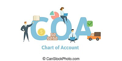 COA, Chart of Account. Concept with keywords, letters and icons. Flat vector illustration. Isolated on white background.
