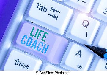 coach., élet, -e, elér, valaki, terv, fénykép, azonosít, ...
