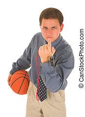 Coach #19 - Man looking upset, holding a basketbal, calling...