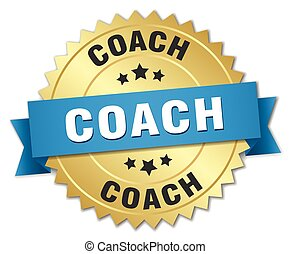 coach 3d gold badge with blue ribbon
