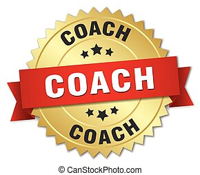 coach 3d gold badge with red ribbon