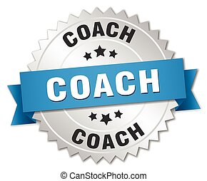coach 3d silver badge with blue ribbon