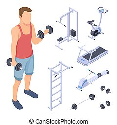 Coach and fitness equipment. Isometric gym elements. Vector sports man training