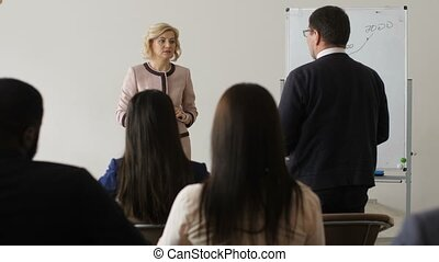 Coach asking group for questions on outlined topic - Middle...