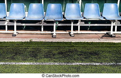 Coach benches - Coach and reserve benches in a soccer field