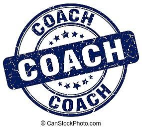 coach blue grunge round vintage rubber stamp