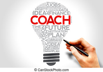 COACH bulb word cloud, business concept