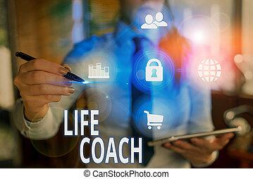 coach., -e, felszolgál, élet, kiállítás, fogalmi, fénykép, ...