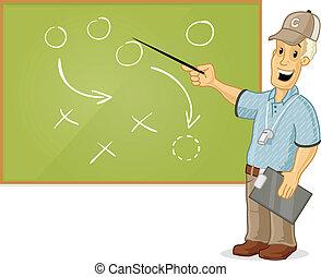 Coach - Sports coach showing tactics on blackboard vector...