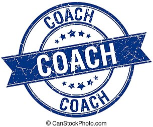 coach grunge retro blue isolated ribbon stamp