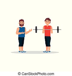 Coach holds training session with young man. Guy doing exercise with barbell. Healthy lifestyle. Flat vector design