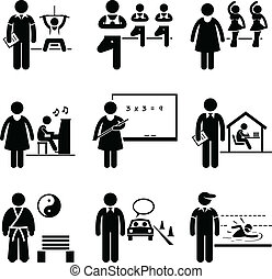 A set of pictograms representing the jobs and careers in coaching, trainer, and teacher. They are gym instructor, yoga instructor, dancing teacher, music teacher, school teacher, home tutor, martial art guru, driving instructor, and a swimming coach.