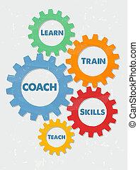 coach, learn, train, skills, teach in grunge flat design gears