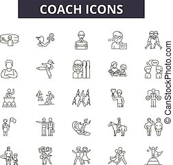 Coach line icons, signs set, vector. Coach outline concept, illustration: business, training, coach, management, trainer, people