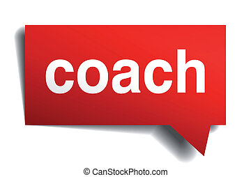 Coach red 3d realistic paper speech bubble isolated on white...