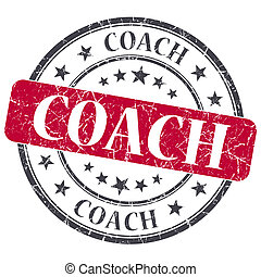 Coach red grunge textured vintage isolated stamp