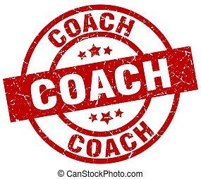 coach round red grunge stamp