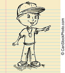 Coach Sketch Doodle Vector Art