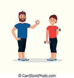 Coach training woman in gym. Trainer holding stopwatch, young girl doing exercise with dumbbells. Flat vector design