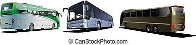 coach., vetorial, três, buses., turista