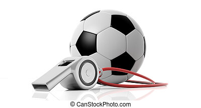 Coach whistle and soccer football ball isolated on white...