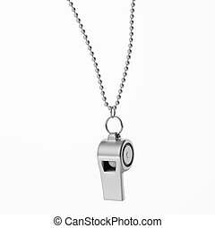 Coach whistle metal with chain isolated cutout on white...