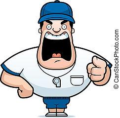 Coach Yelling - A cartoon coach yelling.