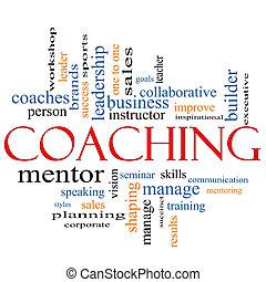 coachend, concept, woord, wolk