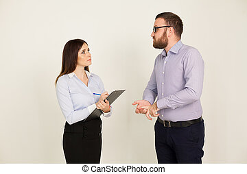 coachend, tasking, baas, en, vrouw