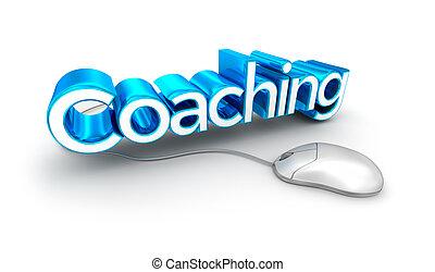 coachend, tekst, 3d, concept, vrijstaand, op wit