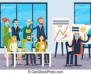 coachend, zakelijk, achtergrond, orthogonal