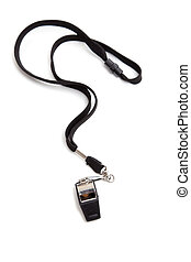 A coaches whistle with lanyard on a white background with copy space
