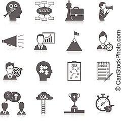 coaching, čerň, povolání, ikona