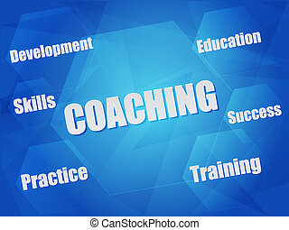 coaching and business concept words in hexagons